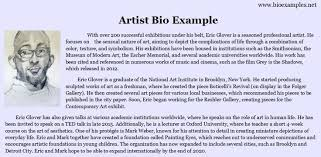 Biography Example Interesting Artist Bio Example Bio Examples Pinterest Creative