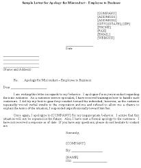 Sample Letter For Apology For Misconduct Employee To Business Template