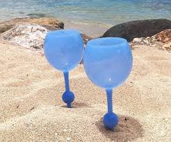 design style beach themed wine glass candle holders