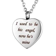 valyria heart cremation urn necklace memorial keepsake jewelry end i used to be his angel now he s mine amazon