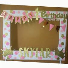 easy diy photo booth ideas pink and gold 1st birthday party photobooth frame decorations