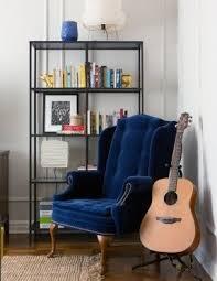 blue wingback chair. Velvet Wingback Chair Blue