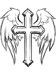 Small Picture Cross with Wings coloring page Free Printable Coloring Pages
