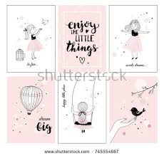 Little Girl Quotes Delectable Cute Little Girl Bird Quotes Posters Stock Vector Royalty Free