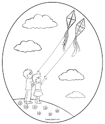 Flying Kites Coloring Page Clip Art Sweet Clip Art
