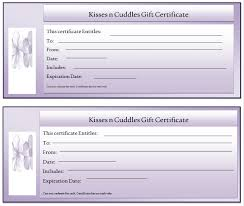 kisses n cuddles gift certificate template