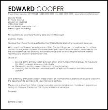 Web Content Manager Cover Letter Sample Cover Letter
