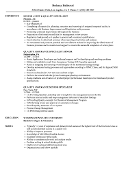 Quality Resume Examples Quality Specialist Senior Resume Samples Velvet Jobs 20