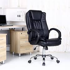 santana black high back executive office chair leather swivel recline rocker computer desk furniture co uk kitchen home