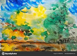 watercolor landscape original painting colorful green trees sun clouds daytime stock photo