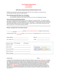 ACH recurring payment authorization form - PDF, DOC - page 1 of 1 ACH recurring payment authorization form page 1