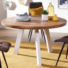 Esszimmertisch Rund 130x130x77 Cm Sheesham Massiv Esstisch Beine Weiß Runder Holztisch Mit Metallbeinen Massivholztisch Esszimmer Küchentisch