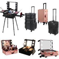 image is loading leather nylon rolling makeup trolley artist train case
