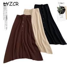 Midi Long <b>Winter</b> Knitted Skirt Women A Line High Waist Button ...