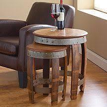reversible reclaimed wine barrel. Reversible Reclaimed Wine Barrel. Barrel Head Nesting Tables