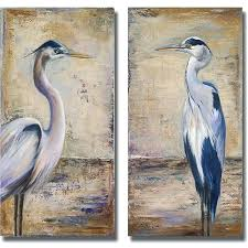 heron wall art pinto blue heron i and ii 2 piece canvas art set white heron