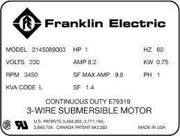 Service Factor And Service Factor Amps Franklin Aid