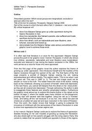 wt q persepolis essay exemplar by richard glover issuu written task 2 persepolis exemplar question 4 outline prescribed question which social groups are marginalized excluded or silenced in the text