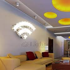 Unique Wifi Shaped Crystal Entryway Led Wall Lights Indoor