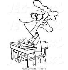 student desk clipart black and white. vector of a happy female cartoon student sitting at her desk - coloring page outline version clipart black and white