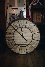 large rustic style wooden wall clock