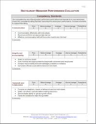 employee evaluation of manager form restaurant manager performance evaluation form eval pinterest