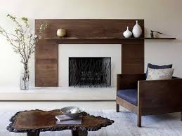 mid century modern fireplace design with wooden material