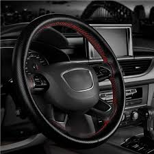 diy red black pu leather steering wheel cover with needle thread