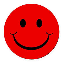 Red Smiley Face Round Car Magnet