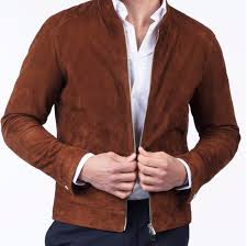 Designer Suede Jacket Mens Casual Style Brown Suede Leather Jacket