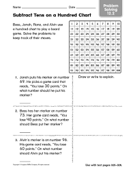 Subtract Tens On A Hundred Chart Problem Solving 12 2