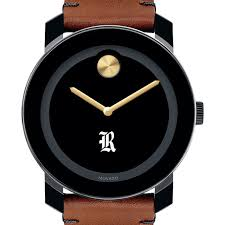 rice university men s movado bold with brown leather strap