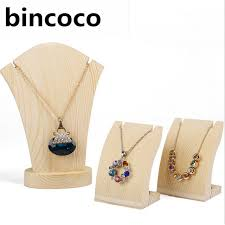 Long Necklace Display Stand bincoco wood pendants display Holder For Store Wood Jewelry 81