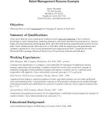 Objectives For Retail Resumes Sample Resume Retail Manager Store