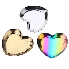 home decor polished easy clean party supplies fruit snless steel jewelry organize serving platter storage tray heart shape