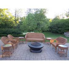 hampton bay niles park 5 piece gas fire pit patio seating set with cashew cushions ns5 brh00800 the home depot