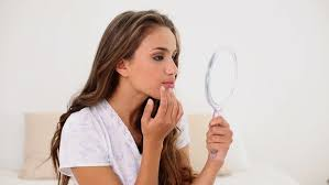 woman holding hand mirror. Hd00:18Young Woman Admiring Herself In Hand Mirror Bedroom At Home Holding A