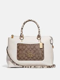 emma satchel in signature canvas colorblock khaki chalk