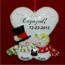 Blissful Engagement Personalized Christmas Ornament