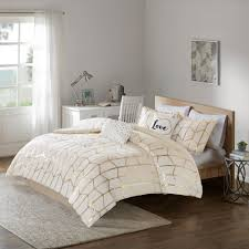 intelligent design khloe 5 piece blush gold full queen geometric comforter set id10 1247 the home depot