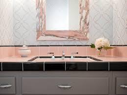 contemporary bathroom decor ideas. Contemporary Bathroom Vanity With Black And Pink Tile Decor Ideas