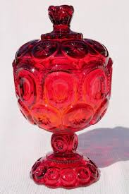 moon stars pressed pattern glass candy dish or small compote ruby red glass