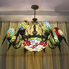 parrots shape tiffany chandelier european vintage simple glass suspension light dining room hanging lamp penntes re grey pendant light edison bulb