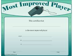 Most Improved Player Certificate Printable Certificate