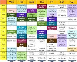 weekly schedule example weekly schedule