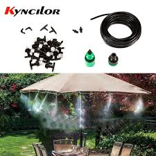 1 sets fog nozzles irrigation system portable misting automatic watering 10m garden hose spray head with 4 7mm tee and connector