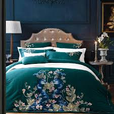 100 cotton percale bed linen 60s sateen duvet cover set 4 dark green bedding peacock embroidery quilt covers shams king king size bedding king size duvet