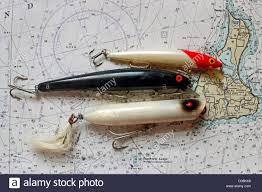 Fishing Lures Lie On A Nautical Chart Stock Photo 53622220