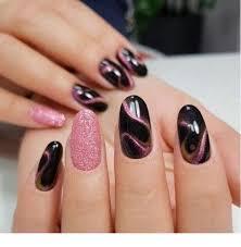 Pink Nail Art Design Cute Black And Pink Nail Art Design Print