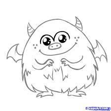 monster creature drawings easy. How To Draw Cute Monster Step By Creatures Monsters With Creature Drawings Easy